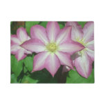 Trio of Clematis Pink and White Spring Flowers Doormat