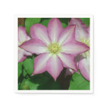 Trio of Clematis Pink and White Spring Flowers Napkin