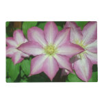 Trio of Clematis Pink and White Spring Flowers Placemat