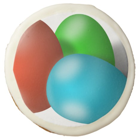 Trio of Colored Easter Eggs Sugar Cookie