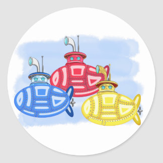 Trio of Crayon Colored Subs Classic Round Sticker