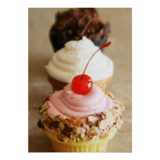 Trio of Cupcakes Food Poster