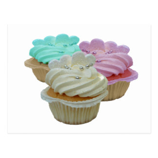 Trio of Cupcakes with hearts Postcard