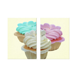 Trio of Cupcakes Wrapped Canvas Stretched Canvas Prints