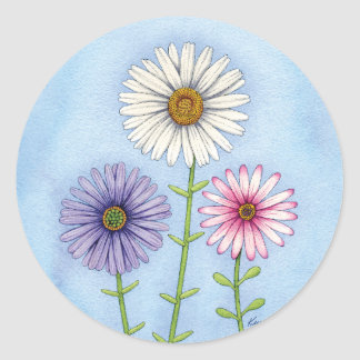 Trio of Daisies Classic Round Sticker