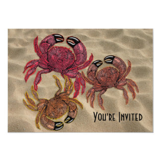 Trio of Dungeness Crabs 5x7 Paper Invitation Card