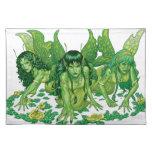 Trio of Earth Fairies or Elves by Al Rio Cloth Placemat