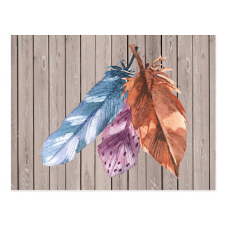 Trio of Feathers Blue Purple Brown Postcard
