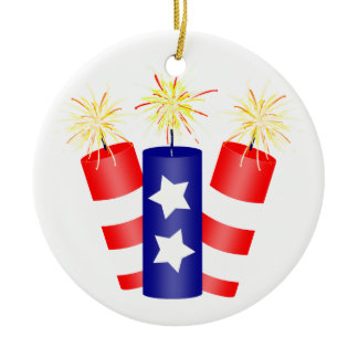 Trio of Firecrackers for the 4th of July Ceramic Ornament