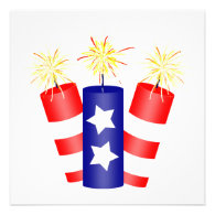Trio of Firecrackers for the 4th of July Custom Announcements