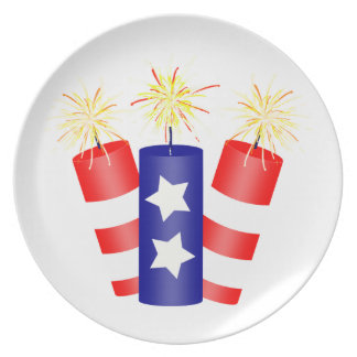 Trio of Firecrackers for the 4th of July Melamine Plate