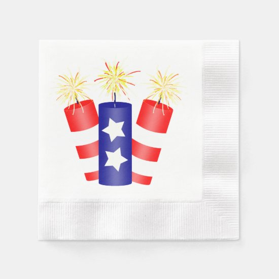 Trio of Firecrackers for the 4th of July Paper Napkin