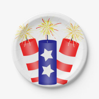 Trio of Firecrackers for the 4th of July Paper Plate