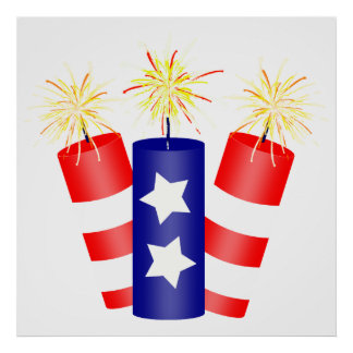 Trio of Firecrackers for the 4th of July Poster