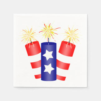 Trio of Firecrackers for the 4th of July Disposable Napkin