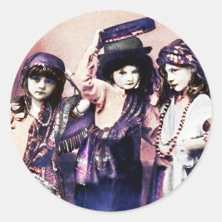 Trio of Gypsy Children Classic Round Sticker