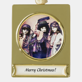 Trio of Gypsy Children Gold Plated Banner Ornament