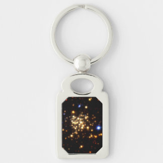 Trio of Images of the Arches Cluster Silver-Colored Rectangular Metal Keychain
