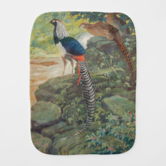 Trio of Lady Amherst's pheasant by waterfall Baby Burp Cloth