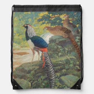 Trio of Lady Amherst's pheasant by waterfall Drawstring Bag