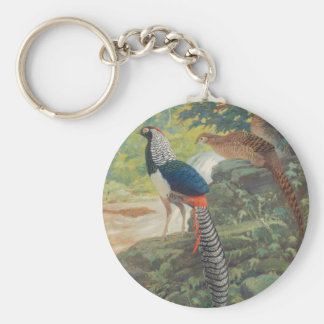 Trio of Lady Amherst's pheasant by waterfall Keychain
