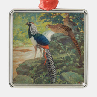 Trio of Lady Amherst's pheasant by waterfall Metal Ornament