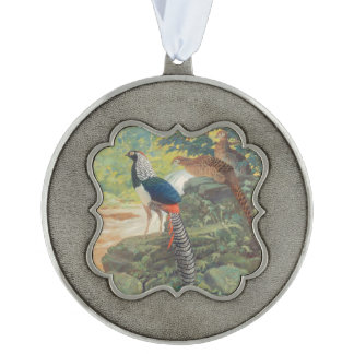 Trio of Lady Amherst's pheasant by waterfall Ornament