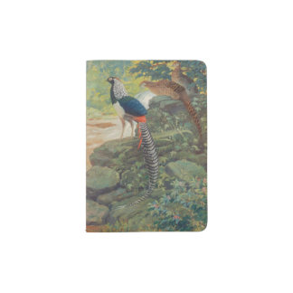 Trio of Lady Amherst's pheasant by waterfall Passport Holder