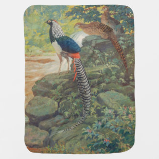 Trio of Lady Amherst's pheasant by waterfall Receiving Blanket