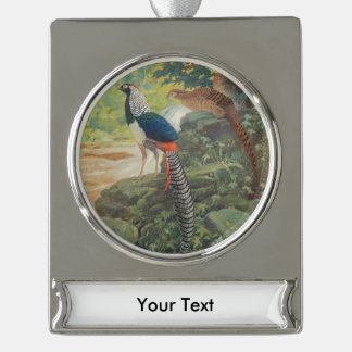 Trio of Lady Amherst's pheasant by waterfall Silver Plated Banner Ornament