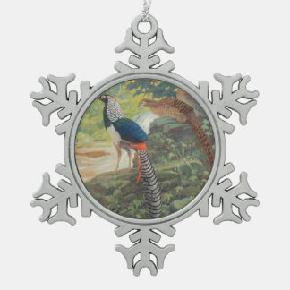 Trio of Lady Amherst's pheasant by waterfall Snowflake Pewter Christmas Ornament
