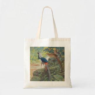 Trio of Lady Amherst's pheasant by waterfall Tote Bag