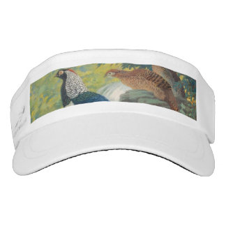 Trio of Lady Amherst's pheasant by waterfall Visor