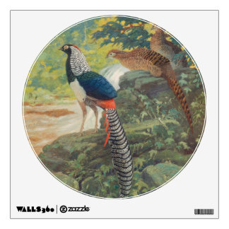 Trio of Lady Amherst's pheasant by waterfall Wall Sticker