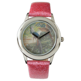 Trio of Lady Amherst's pheasant by waterfall Wrist Watch
