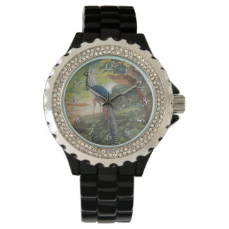 Trio of Lady Amherst's pheasant by waterfall Wristwatches