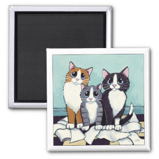 Trio of Likely Suspects | Cat Art Magnet