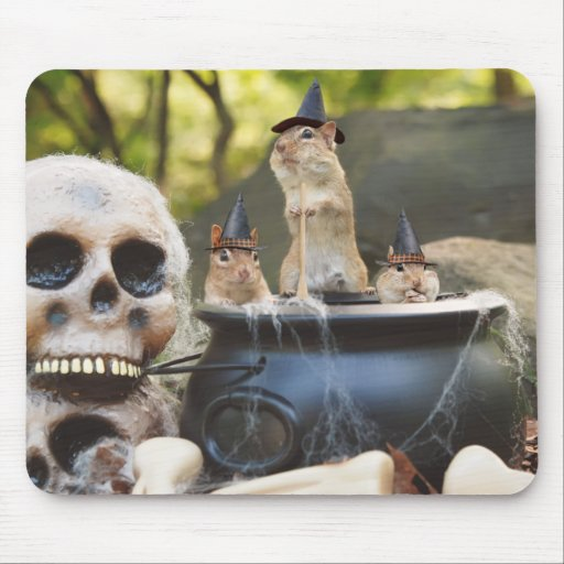 trio of little witchy chipmunks mouse pad