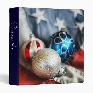 "Trio of Patriotic Ornaments 1"" Photo Album Vinyl Binder"