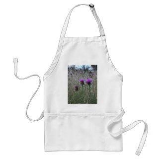 Trio of purple thistles adult apron
