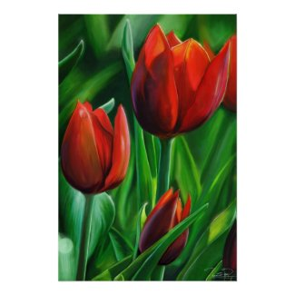 Trio of Red Tulips flower nature digital painting