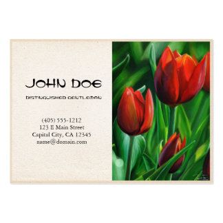 Trio of Red Tulips flower nature digital painting Business Cards