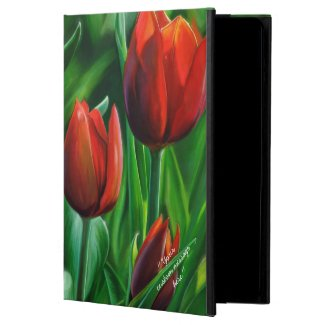 Trio of Red Tulips flower nature digital painting iPad Air Covers