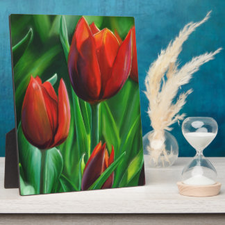 Trio of Red Tulips flower nature digital painting Display Plaque
