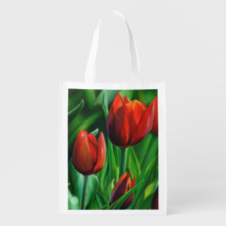 Trio of Red Tulips flower nature digital painting Reusable Grocery Bag