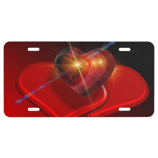 Trio of Red Valentine Hearts License Plate