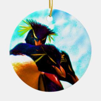 Trio of Rockhopper Penguins Ceramic Ornament