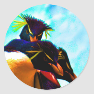 Trio of Rockhopper Penguins Classic Round Sticker