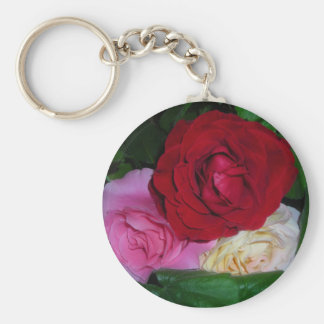 Trio of Roses Basic Round Button Keychain