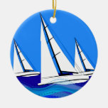 Trio of Sailboats Ceramic Ornament